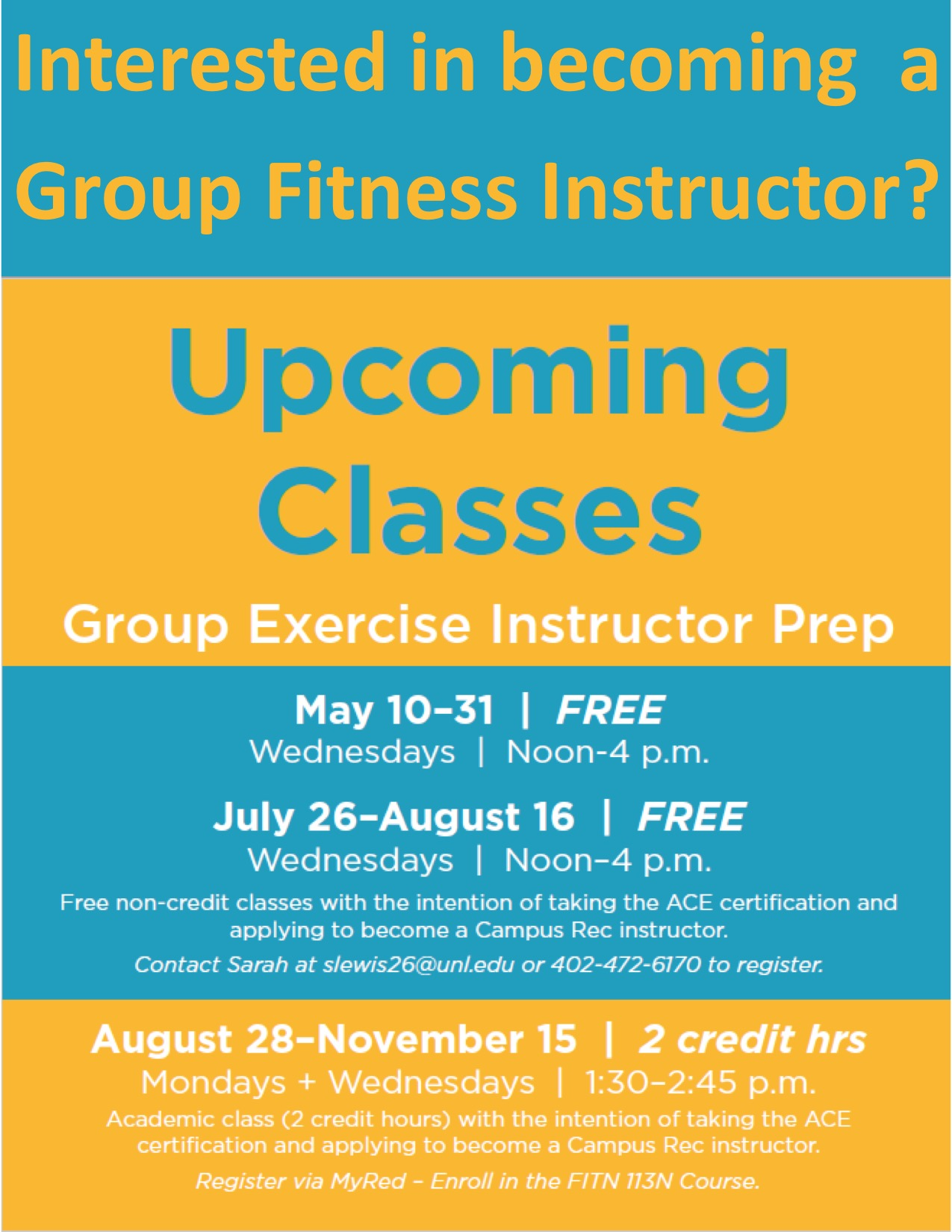Interested in becoming a Group Fitness Instructor?