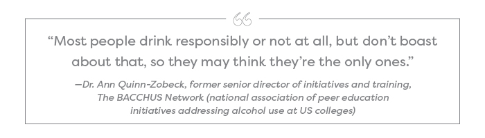 """Most people drink responsibly or not at all, but don't boast about that, so they may think they're the only ones."" —Dr. Ann Quinn-Zobeck, former senior director of initiatives and training, The BACCHUS Network (national association of peer education initiatives addressing alcohol use at US colleges)"
