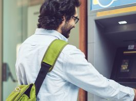 Man withdrawing money from an ATM