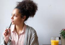Female student pondering