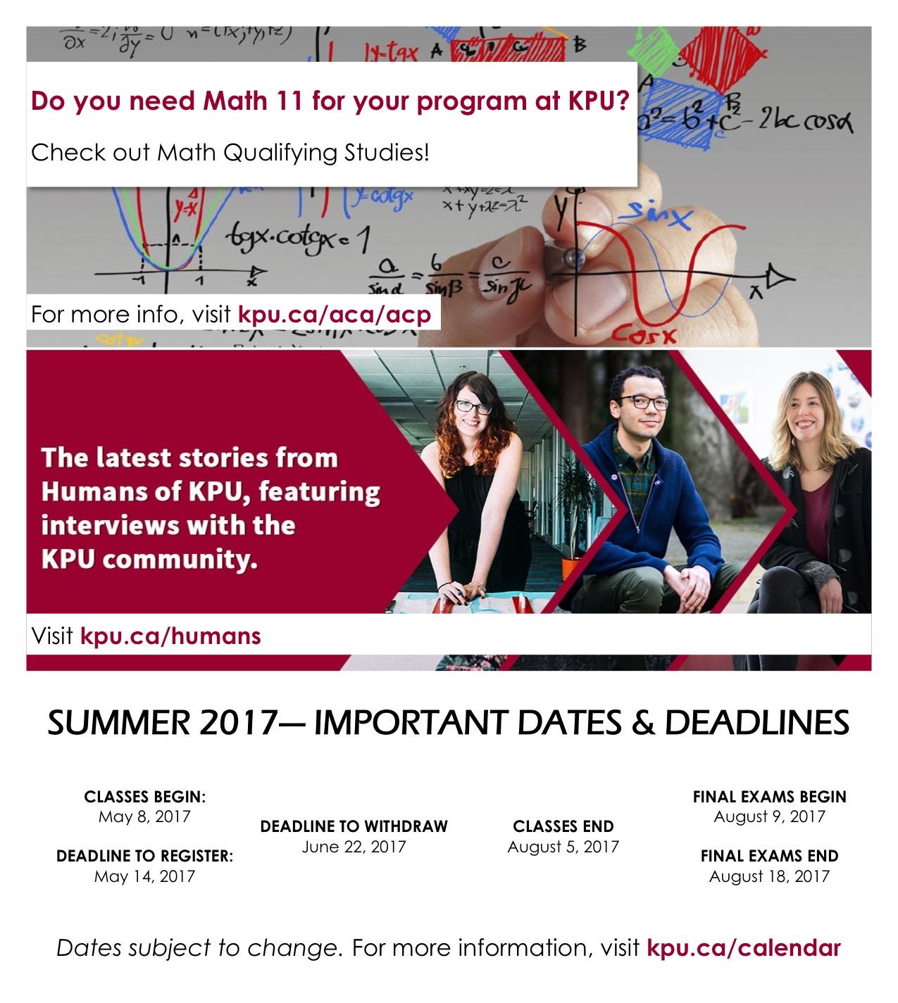 Summer 2017 Dates & Deadlines