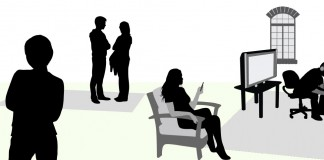 vector image of people in room