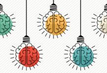 Lightbulbs with brains vector art
