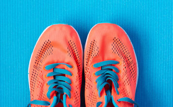 Bright colored running shoes