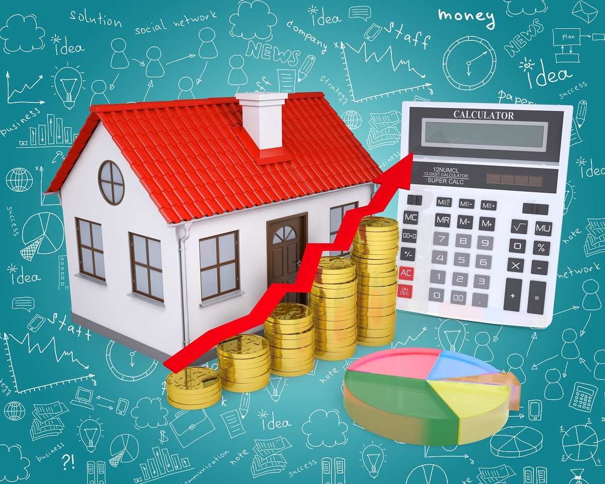 Investor with money words and home