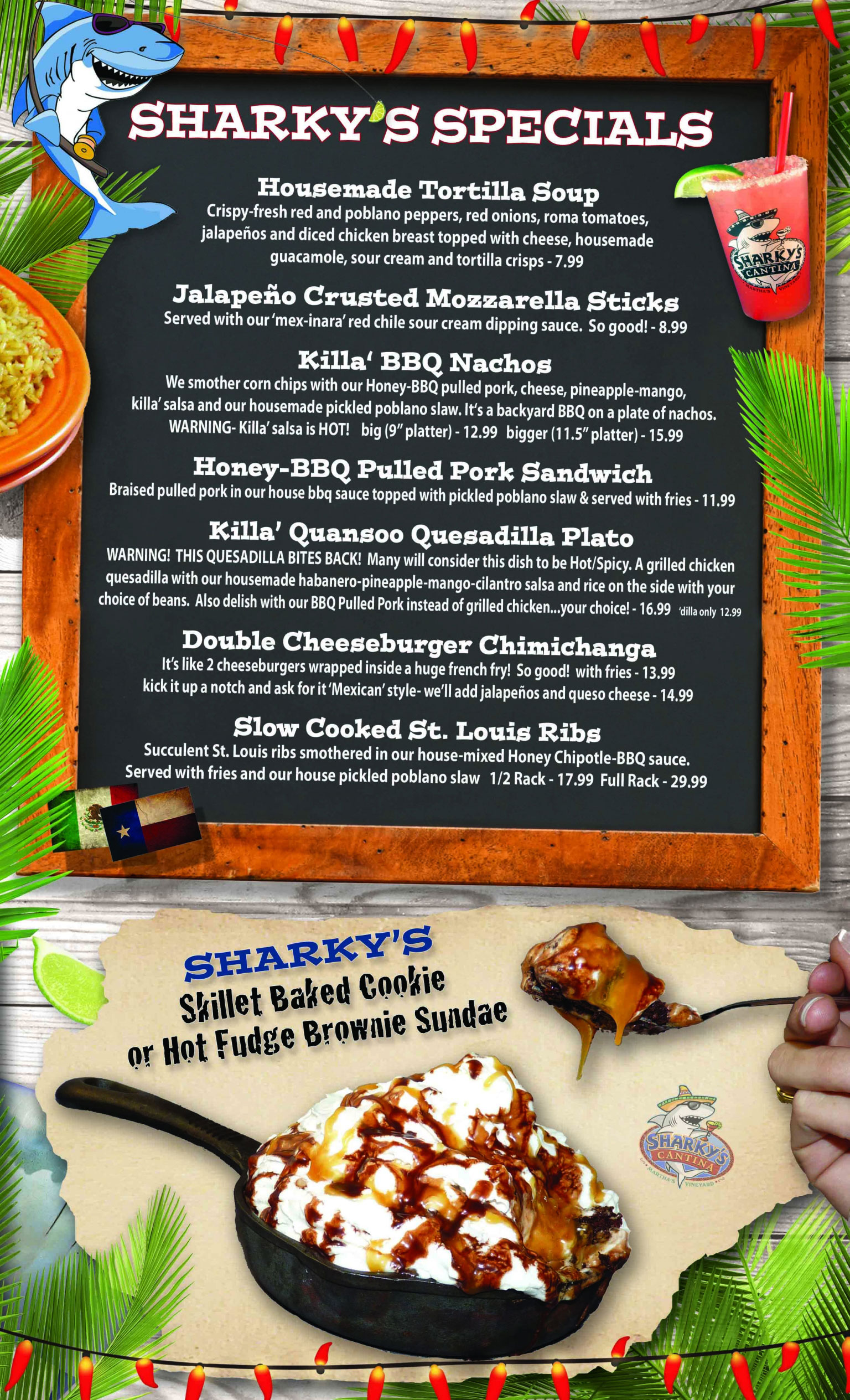 sharky u0027s menu