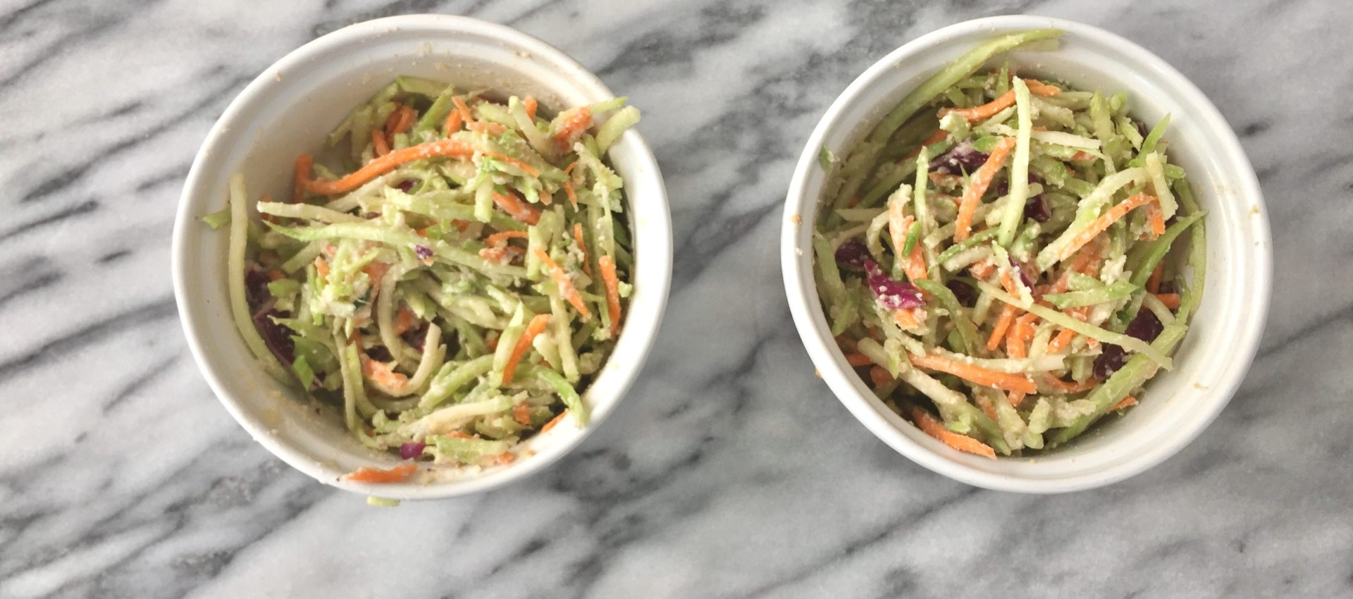 two bowls of dairy free coleslaw