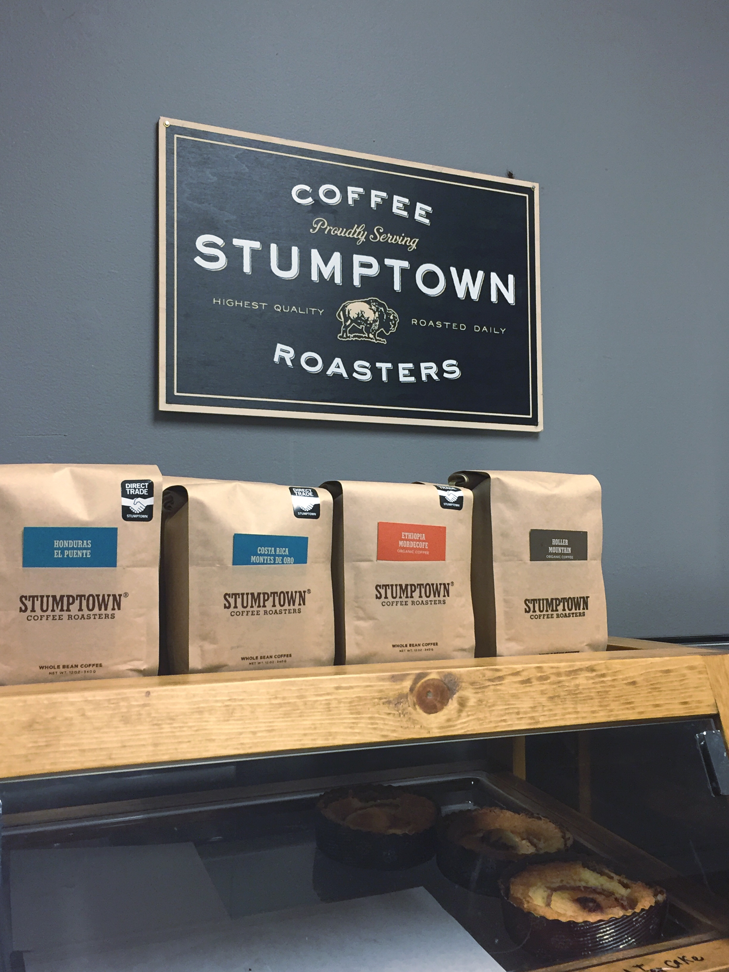stumptown coffee roasters sign at studio coffee huntersville
