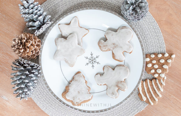 gluten free gingerbread cookies on snowflake plate