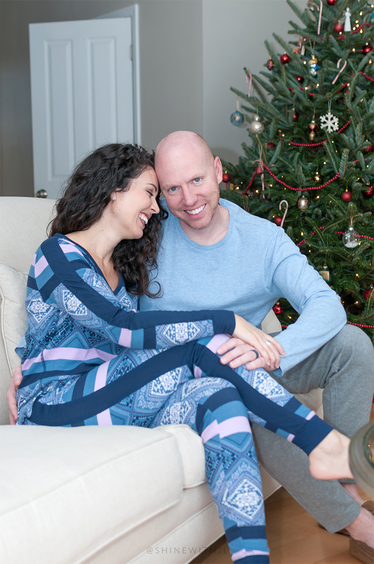 victoria secret thermal set pajama portraits with christmas tree