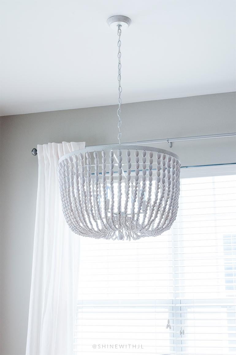 whitewashed antique wood beaded chandelier