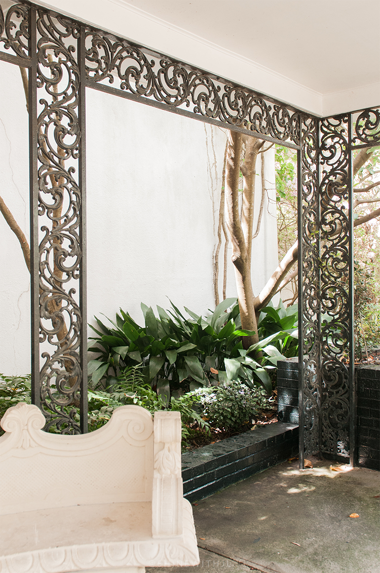 garden of fragrance bench and foliage
