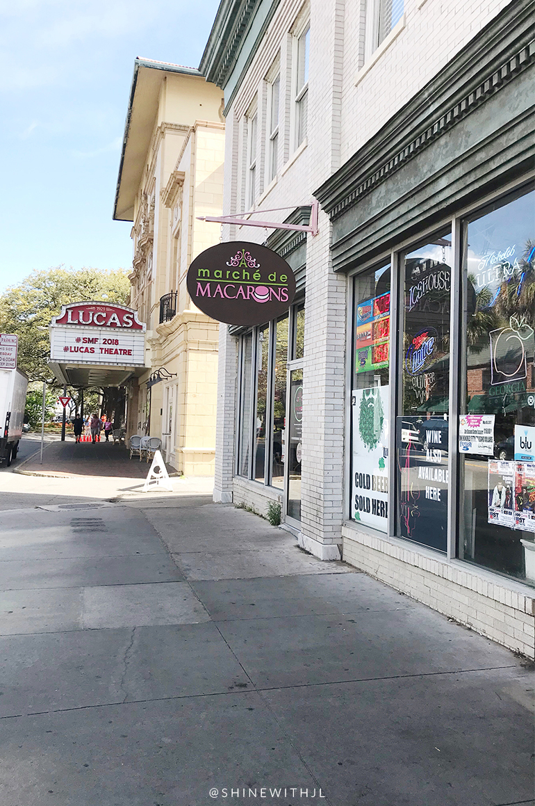 Marche de Macarons and Lucas Theatre street signs savannah