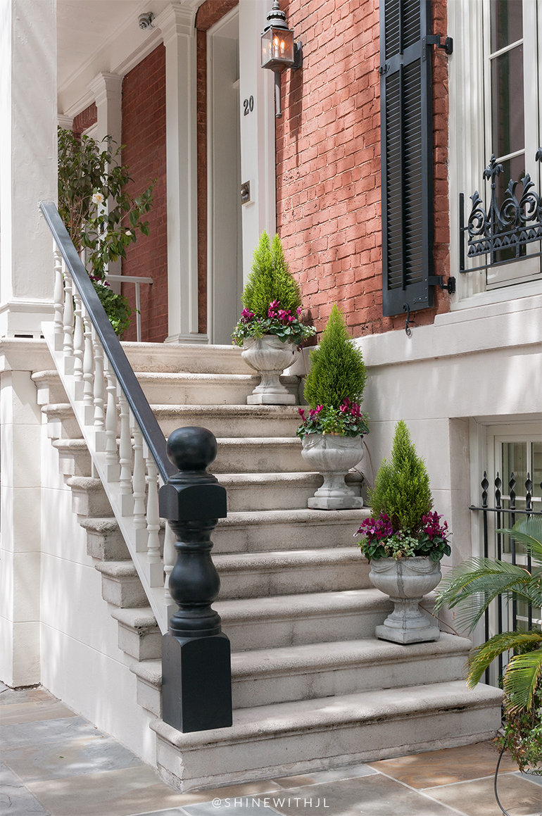 topiary lined steps historic savannah home entrance