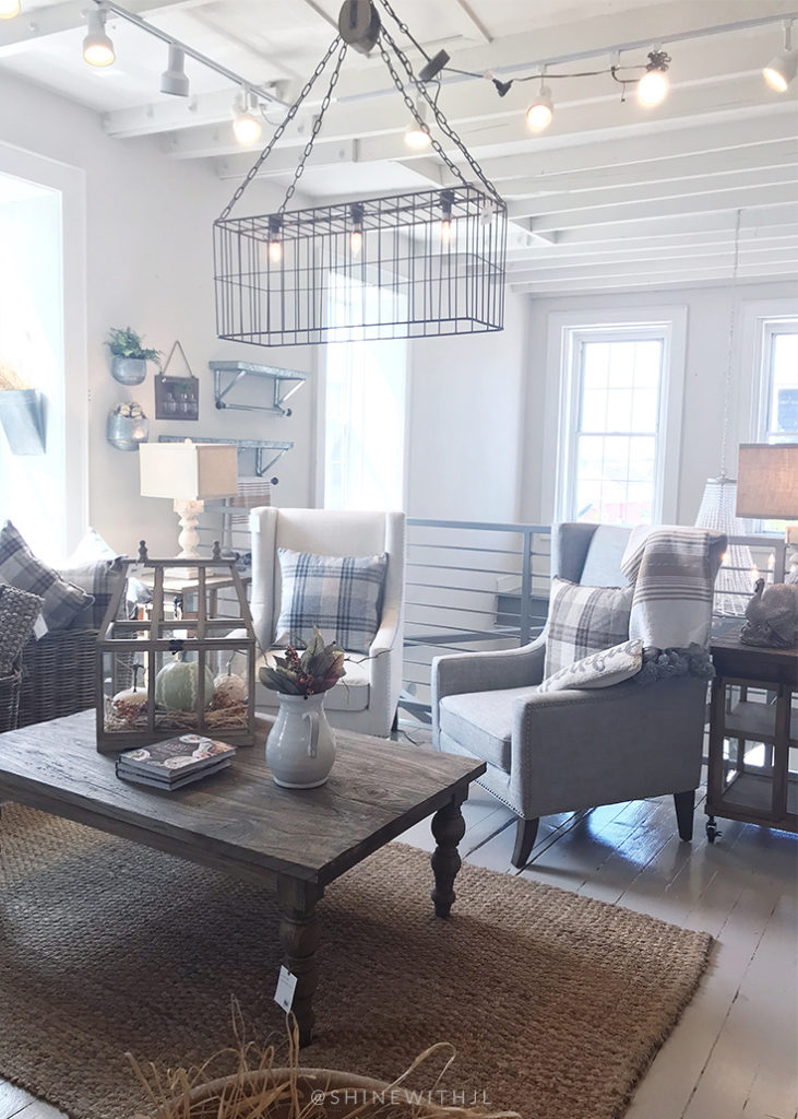 cage light fixture farmhouse style living room design