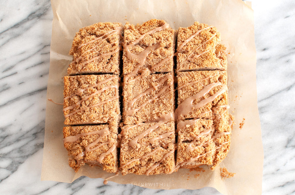 gluten free cinnamon coffee cake bread cut into thirds