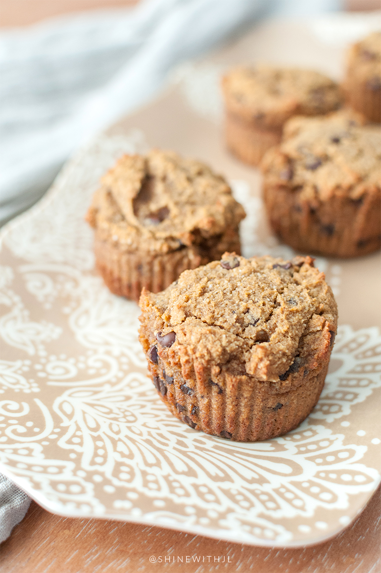 dairy free chocolate chip pumpkin muffins on serving tray