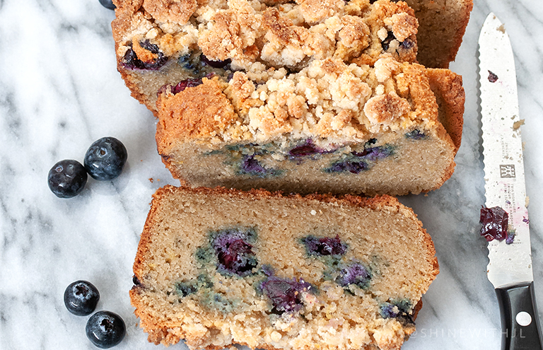 gluten free paleo lemon blueberry streusel bread