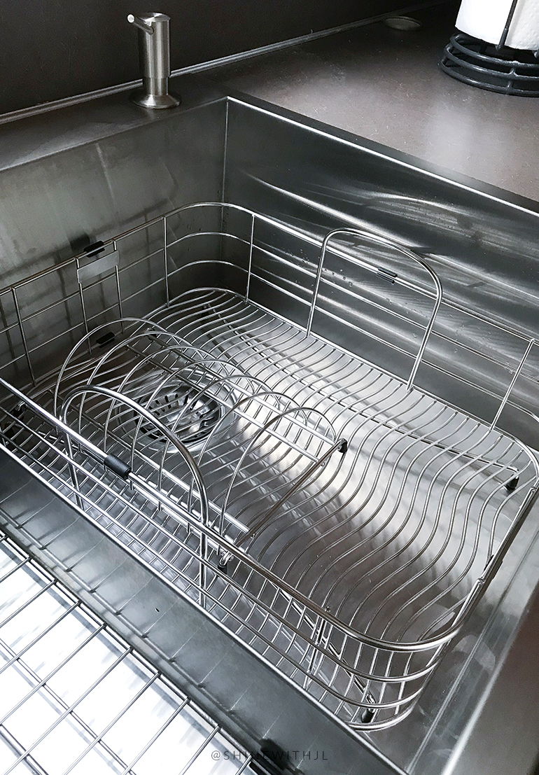 elkay stainless steel rinsing basket in Kraus sink