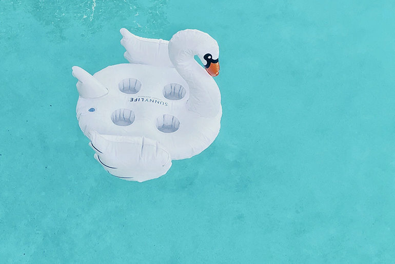 swan raft in pool