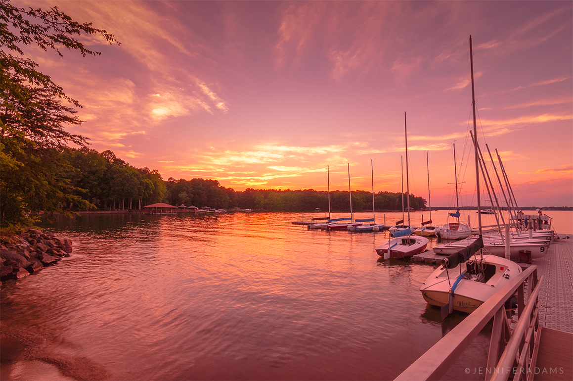 docked sailboats at sunset on lake norman north carolina