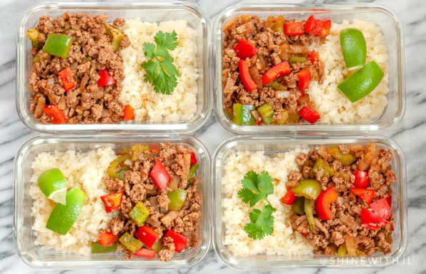ground turkey paleo fajita bowl meal prep recipe
