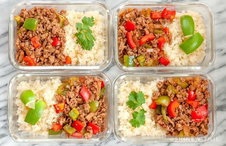 ground turkey paleo fajita bowl meal prep recipe