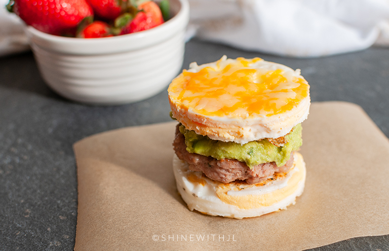egg breakfast sandwich sausage and guacamole shinewihtjl