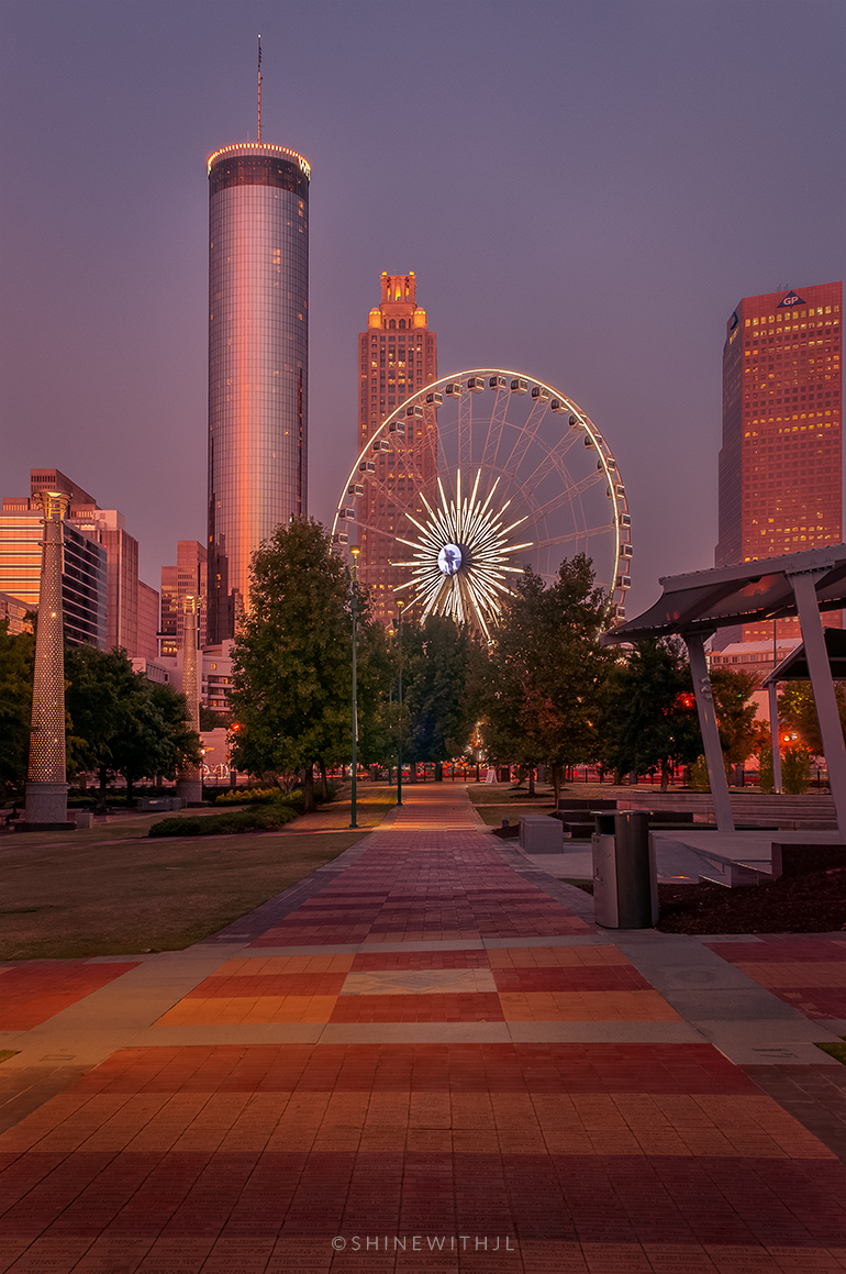 photographer Jennifer Leigh Adams captures centennial olympic park and skyview at susnet