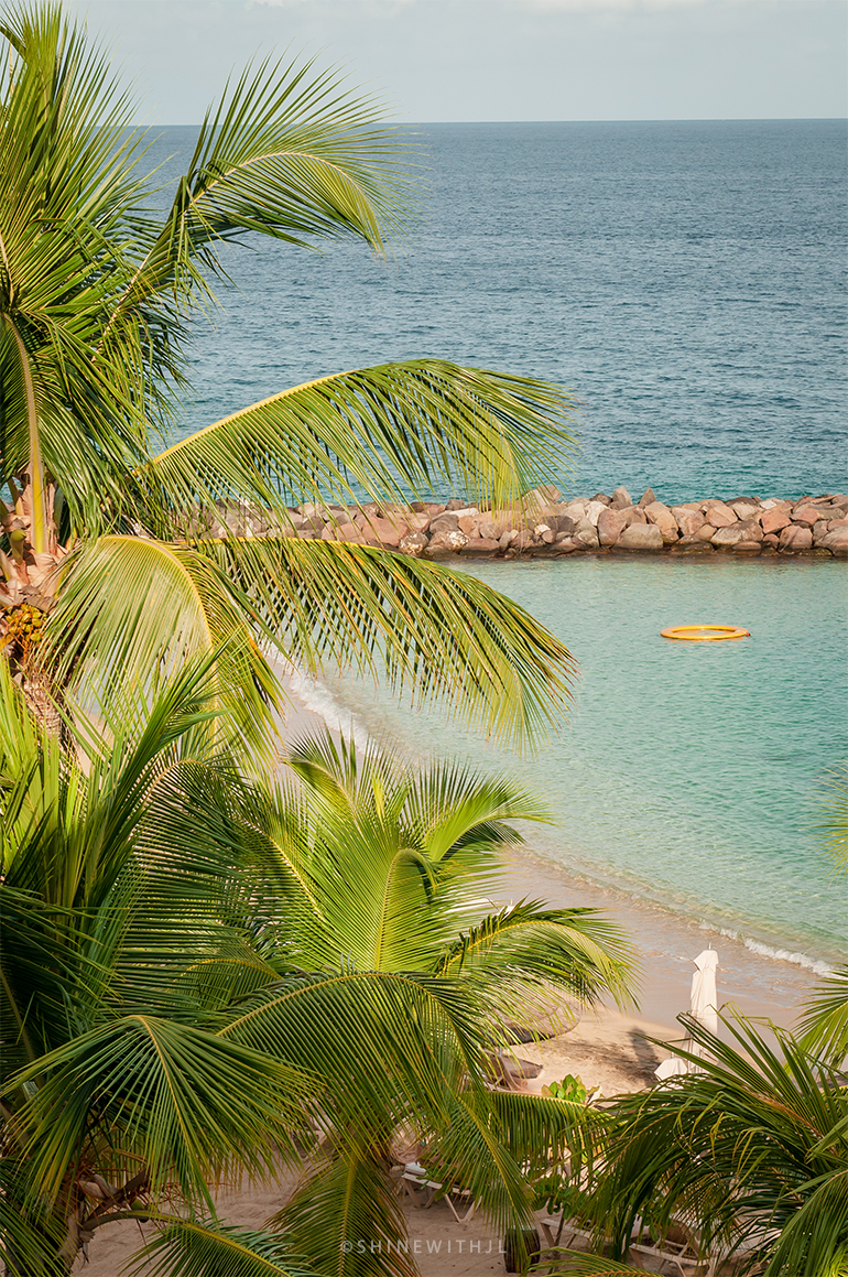 pink gin beach and palm trees at sandals grenada resort