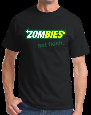 Zombies: Eat Flesh - Zombie Parody Humor Subway Sandwiches Joke T-shirt