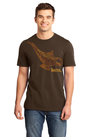 StarKid Twisted Lamp Lyrics Tee Standard Brown Stock Model Front 1 Front
