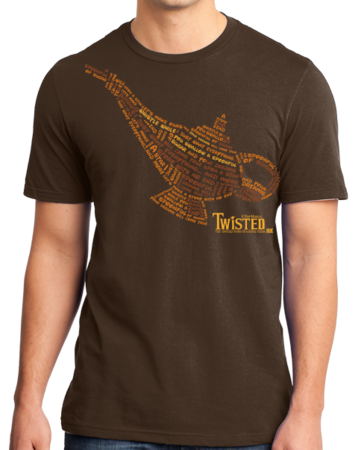 StarKid Twisted Lamp Lyrics Tee Standard Brown Stock Model Front 1 Thumb Front