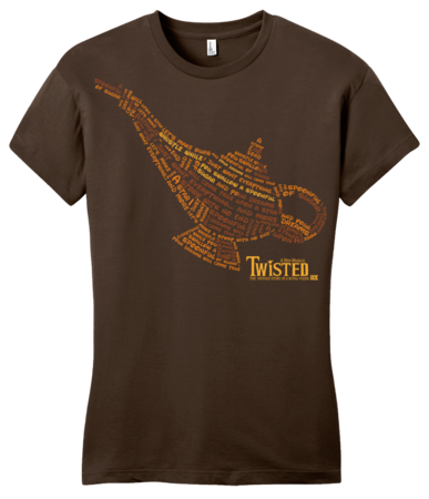 StarKid Twisted Lamp Lyrics Tee Girly Brown Blank with Depth Front
