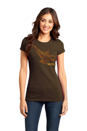 StarKid Twisted Lamp Lyrics Tee Girly Brown Stock Model Front 1 Front