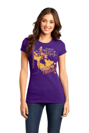 "Starkid Winnipeg ""That's In Canada"" Girly Purple Stock Model Front 1 Front"