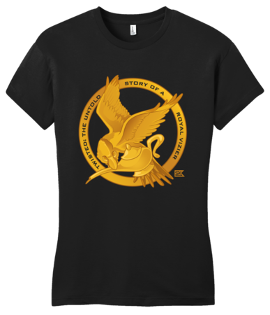 StarKid Twisted Mockingjay Logo Tee Girly Black Blank with Depth Front