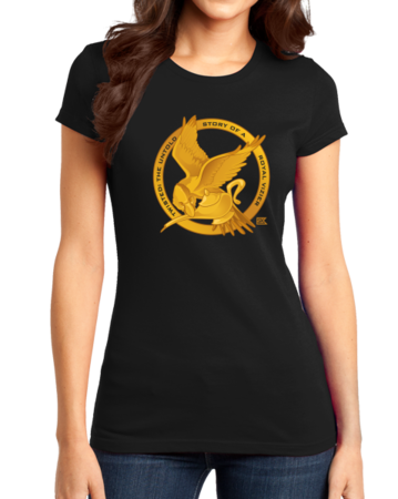 StarKid Twisted Mockingjay Logo Tee Girly Black Stock Model Front 1 Thumb Front