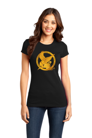 StarKid Twisted Mockingjay Logo Tee Girly Black Stock Model Front 1 Front