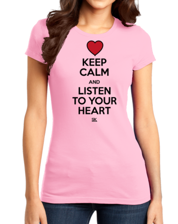 Keep Calm and Listen To Your Heart Girly Pink Stock Model Front 1 Thumb Front