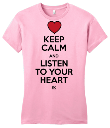 Keep Calm and Listen To Your Heart Girly Pink Blank with Depth Front