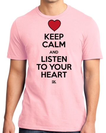 Keep Calm and Listen To Your Heart Standard Pink Stock Model Front 1 Thumb Front