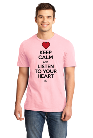 Keep Calm and Listen To Your Heart Standard Pink Stock Model Front 1 Front