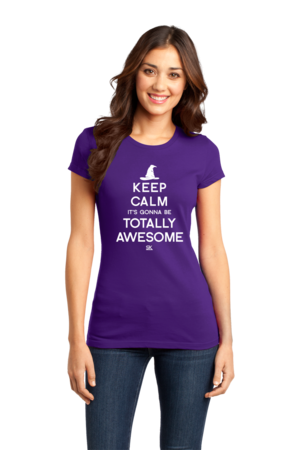 Keep Calm It's Gonna Be Totally Awesome Girly Purple Stock Model Front 1 Front