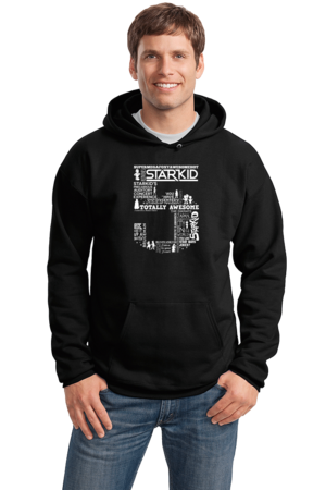Team StarKid 5th Anniversary Sweatshirt Pullover Hoodie Black Stock Model Front 1 Front