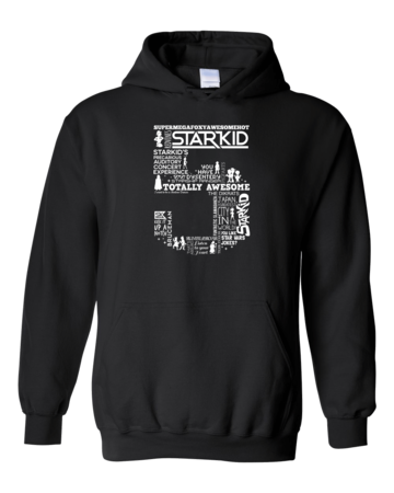 Team StarKid 5th Anniversary Sweatshirt Pullover Hoodie Black Blank with Depth Front