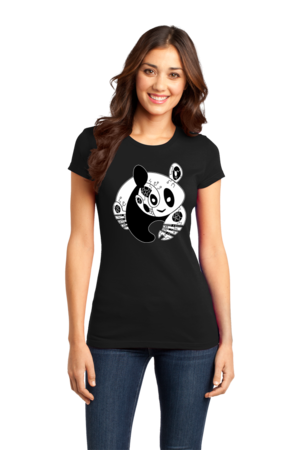 Panda Bear Logo T-shirt Girly Black Stock Model Front 1 Front