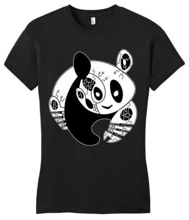 Panda Bear Logo T-shirt Girly Black Blank with Depth Front