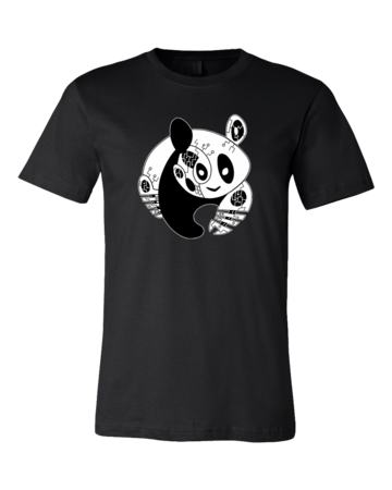 Panda Bear Logo T-shirt Standard Black Blank with Depth Front