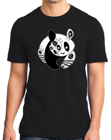 Panda Bear Logo T-shirt Standard Black Stock Model Front 1 Thumb Front